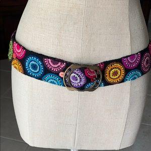 RARE Belt Peru NEW Handmade Wool. Black Multi NWOT
